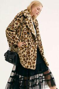 We The Free FREE PEOPLE Faux Fur Leopard Print Oversize Swing Coat Size M 16/18