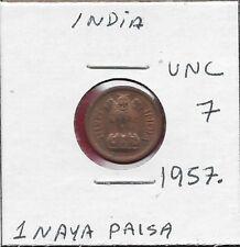 INDIA 1 NAYA PAISA 1957. UNC ASOKA LION ON PEDESTAL,DENOMINATION AND DATE