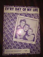 Ev'ry Day of My Life Sheet Music McGuire Sisters Cover 1954