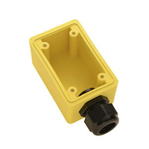 """WATERTIGHT DEEP YELLOW BACK BOX, 1"""" NPT OPENING FOR SINGLE RECEPTACLES fd13"""
