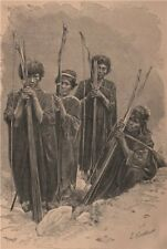 Group of Antis (Peruvian Campos)  1885 old antique vintage print picture