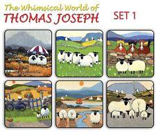 Thomas Joseph Set of 6 Coasters Drink Mats Set 1 Fun Cute Sheep Design
