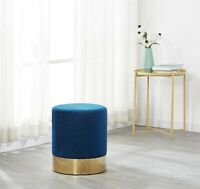 Dolce Blue Velour Velvet Ottoman Footstool with Chrome Surround Stool Seat