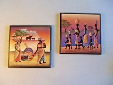 """Set Of 2 Wooden Plaques With African Images Wall Hanging Decor 6"""" X 6"""""""