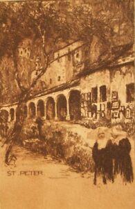 Oskar Graf; Salzburg; St Peter original antique etching 1920's