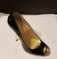 Black High Heels Peep Toe Women's Leather Stiletto Slip On Pumps New US 7.5