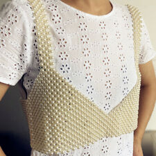 Bra Top Chainmail Jewel Vest Top White Beaded Crop Top Artificial Pearl