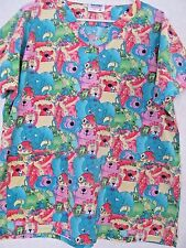 Landau Art Works Scrub Uniform V Neck Top! Zoo Animal Cartoon Design Sz M! USA!