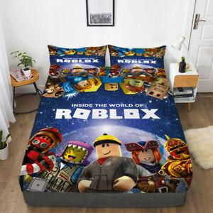 Roblox Bed Deep Pocket Fitted Sheet Pillowcase Ultral Soft Bedding Set 3PCS Gift