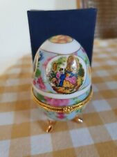 Vintage Boxed Faberge Inspired Egg With Courting Couple Scene