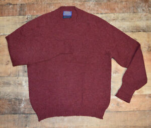 Mens Pendleton Maroon Red Shetland Wool Crew Neck Sweater Large EUC B44