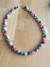 14k Gold Chalcedony Beaded Necklace Pink Blue Green White Purple Square Bead DIL