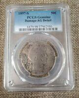PCGS Genuine 1897 S Damage-AG Details Barber Half Dollar