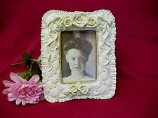 """Vintage Picture Frame Roses Beads Ribbons Resin 6"""" x 7"""""""