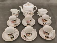 Antique German Miniature Porcelain Child's Teaset 16pc. 19thc Victorian Dishes