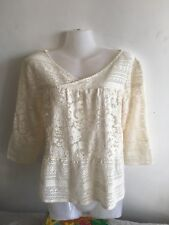MEADOW RUE Anthropologie Quirky Cream Haut Dentelle Taille M