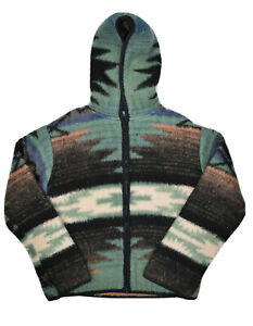 Vintage Together West Fleece Hoodie Mens S Made In USA Aztec Navajo Print Sherpa