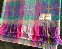 Harris Tweed Scarf Oversized DOUBLE WIDTH Purple Pink Teal Green Blue Wool Check