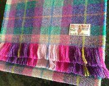 Luxury Harris Tweed Wool Check Scarf Wrap DOUBLE WIDTH Purple Pink Teal Blue