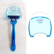 Clear Blue Plastic Super Suction Cup Bathroom Razor Holder Shaver Storage Rack