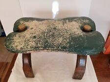 New listing Vtg Wood Camel Saddle Stool W/ Leather Pad Egyptian Hand Made Footstool Ottoman