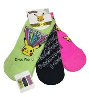 Pokemon Pikachu Shoe Liner Ladies Girls 3 Pairs Trainer Socks UK 4-8 Primark