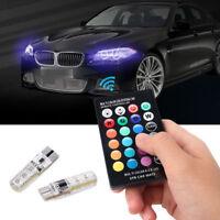 2PCS T10 W5W 5050 6SMD RGB LED Multi-Color Light Car Wedge Bulbs Remote Control