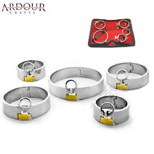 Stainless Steel Metal Neck Collar Wrist & Ankle Cuffs Set of 5 Restraint