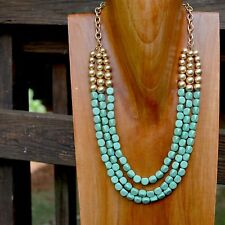 Statement Mint Green Blue & Gold Beaded Layered Necklace