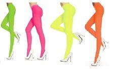 LADIES WOMEN OPAQUE NEON 80s FULL FOOT TIGHTS FANCY DRESS COSTUME ACCESSORIES