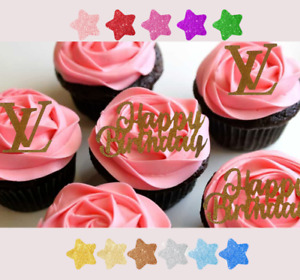 6 pcs Happy Birthday/ LV OR  GUCCI cupcake toppers glitter cake any colour Decor