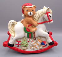 "Porcelain Teddy Bear on Rocking Horse Music Box Figurine plays ""Silent Night"""