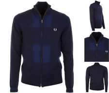 FRED PERRY Sweat Top Men's M.GINGHAM Zip Thru Cardigan Size L Navy Wool RRP£125