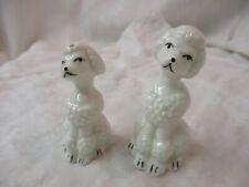 Vintage porcelain Salt & Pepper Shakers white Poodles
