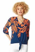 Roman Originals Women Tropical Print Tie Front Jersey Top