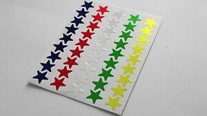 100 Shiny Foil Classic Star Stickers Multicolour Gold Silver Red Green Purple