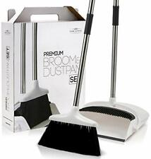 Premium Long Handled Broom & Dustpan Set w/ Clip-on for Quick and Easy Cleaning