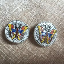 Vintage retro 1960s round clip on earrings butterfly painted enamel design