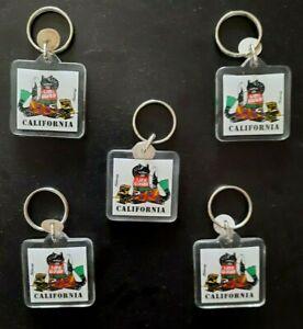 Kliban Cat Key Chain Acrylic California Life Guard Vintage Set Of 5