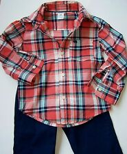 2-PIECE PLAID BUTTON-FRONT TOP & KHAKI PANT size 2T (34.5-36.5 in) NWT