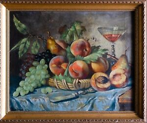 Early 1800s Oil Painting Canvas Old French Master Still Life Fruits Antique Art