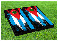 VINYL WRAPS Cornhole Boards DECALS Cuban CUBA Flag BagToss Game Stickers 506