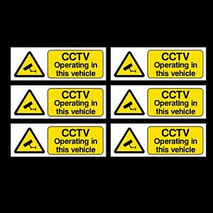 6x CCTV Operating in This Vehicle - 100x35mm Self Adhesive Stickers - Car, Taxi
