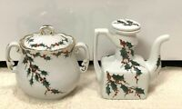 VTG Christmas Holly Berry/Red Jay Painted Porcelain Sugar Bowl & Cream/ Oil -Jar