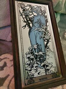 Vintage Mucha Winter only Art Nouveau mirror blue dress lady framed Art