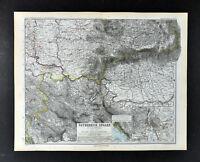 1892 Stieler Map Austria Hungary Budapest Plan Bucharest Serbia Transylvania