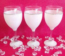 3 WHITE GEMMED RHINESTONE  GLITTER GLASSES WEDDING BIRTHDAY CHRISTMAS GIFT