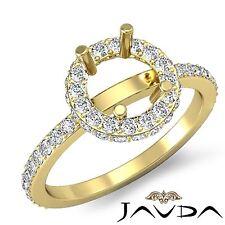 0.85Ct Diamond Engagement Ring 14k Yellow Gold Round Semi Mount Halo Pave Set