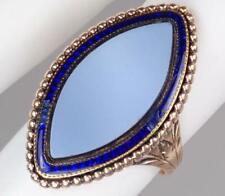 Agate Mourning Ring Mary Sellon 1784 Antique Georgian 15K Rose Gold Blue Enamel