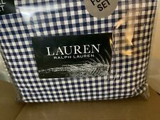 RALPH LAUREN  BLUE GINGHAM  4 PC FULL SHEET SET PILLOWCASES